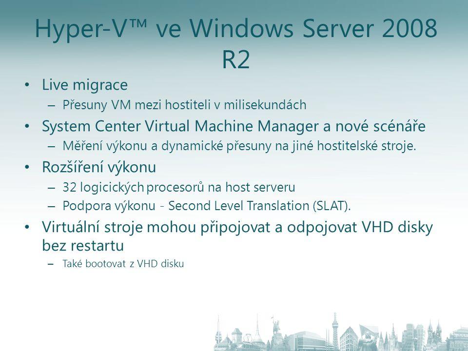 Hyper-V™ ve Windows Server 2008 R2 Live migrace – Přesuny VM mezi hostiteli v milisekundách System Center Virtual Machine Manager a nové scénáře – Měř