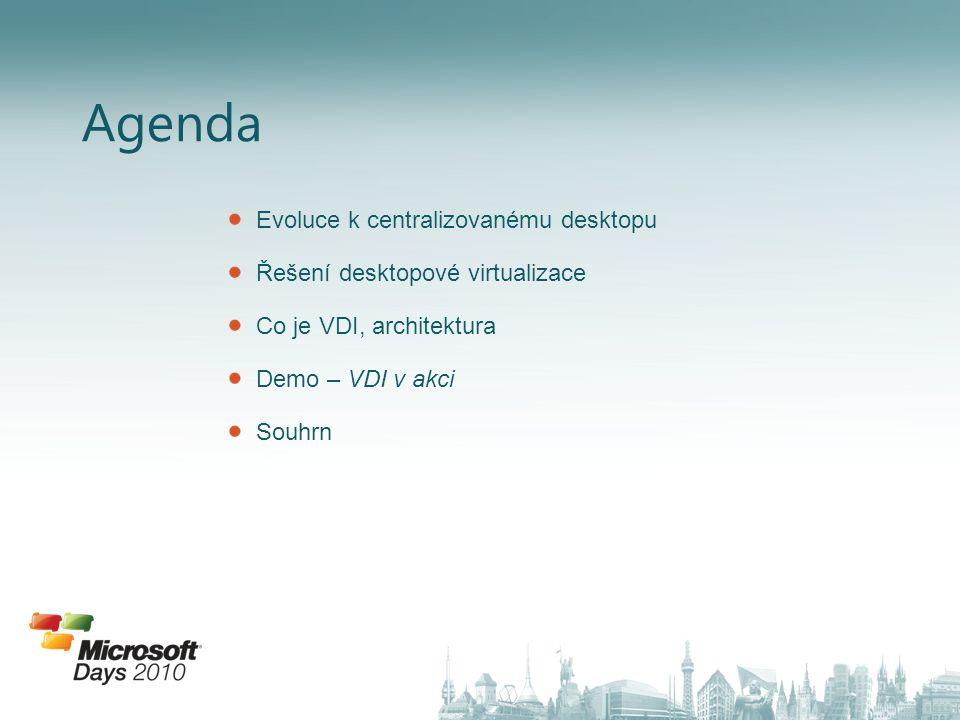Agenda Evoluce k centralizovanému desktopu Řešení desktopové virtualizace Co je VDI, architektura Demo – VDI v akci Souhrn