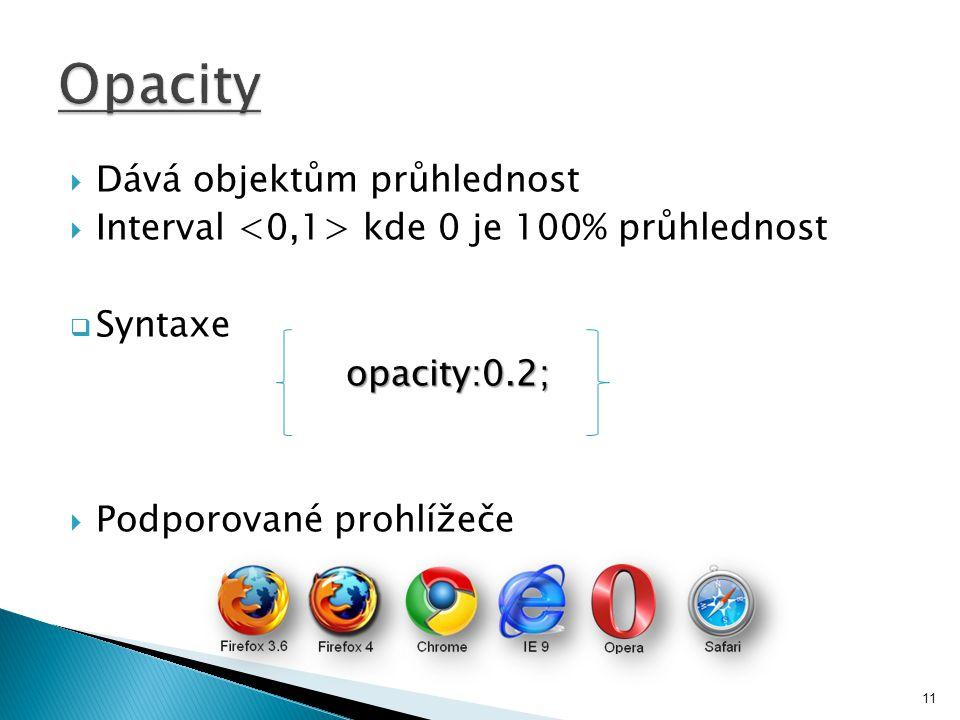  Dává objektům průhlednost  Interval kde 0 je 100% průhlednost  Syntaxe opacity:0.2;  Podporované prohlížeče 11
