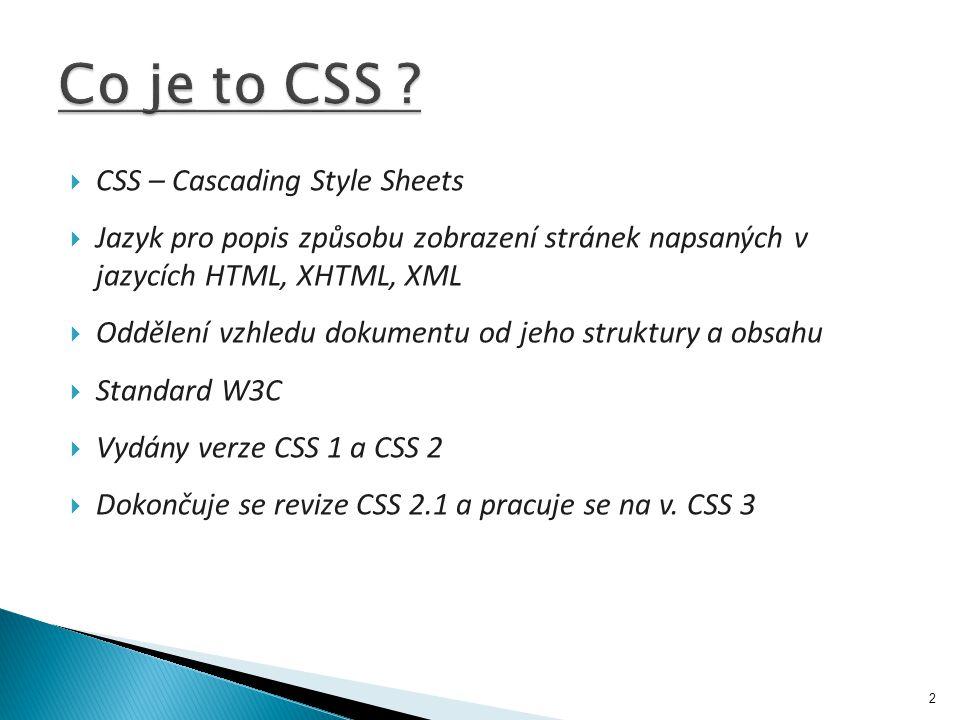  CSS – Cascading Style Sheets  Jazyk pro popis způsobu zobrazení stránek napsaných v jazycích HTML, XHTML, XML  Oddělení vzhledu dokumentu od jeho struktury a obsahu  Standard W3C  Vydány verze CSS 1 a CSS 2  Dokončuje se revize CSS 2.1 a pracuje se na v.