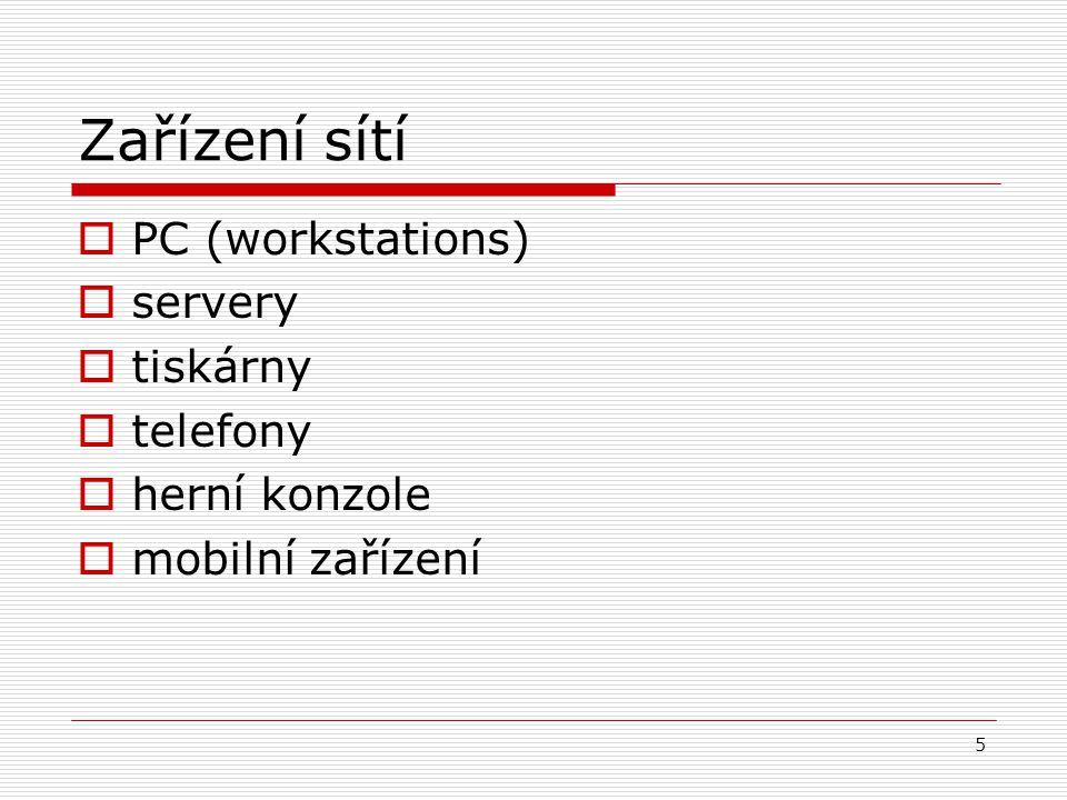 6 Služby sítí  tiskové služby  síťové skenery  uložení dat (store space)  aplikace (databáze)