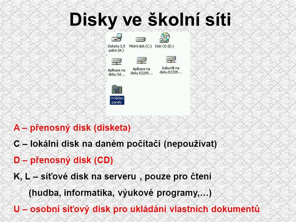 Disk Disk nebo jeho části označujeme písmenky (např.