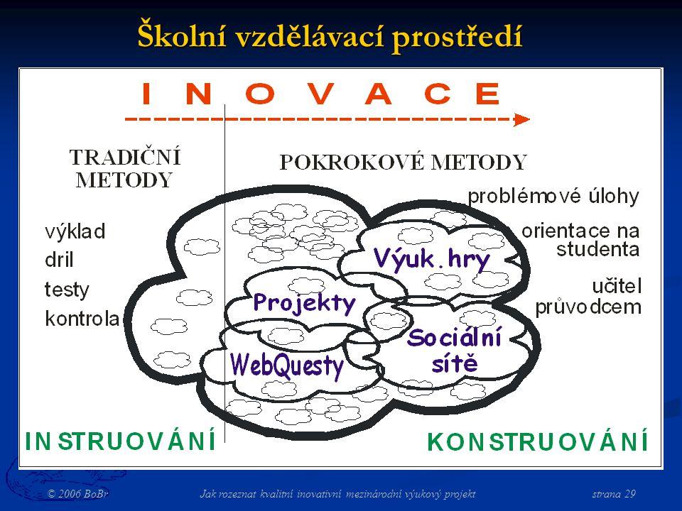 © 2006 BoBr Jak rozeznat kvalitní inovativní mezinárodní výukový projekt strana 29 Školní vzdělávací prostředí