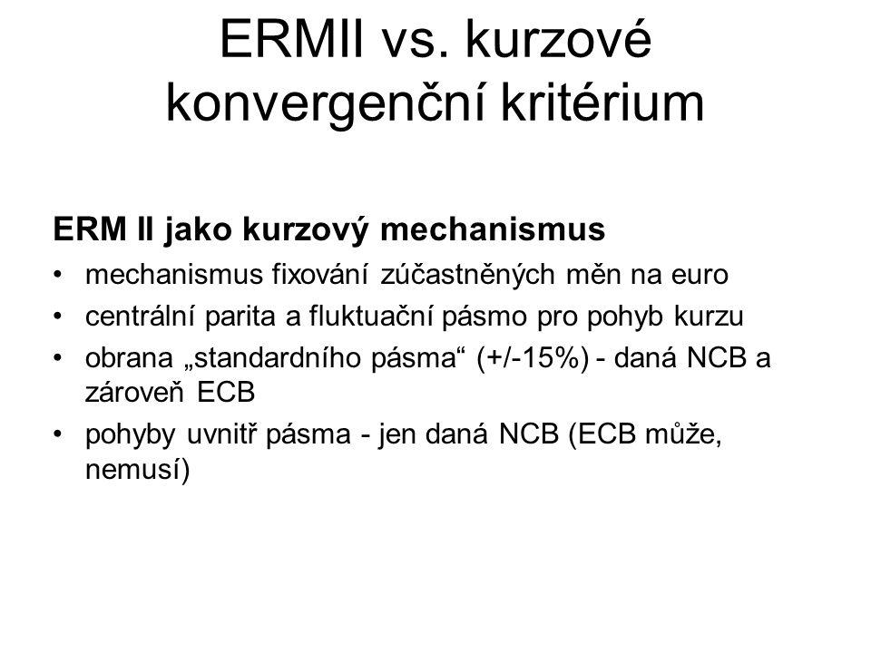 """ERM II jako součást kurzového kritéria 2 složky: –účast v ERM II minimálně 2 roky před vyhodnocením připravenosti na zavedení eura –zachování """"kurzové stability v tomto období kurzová stabilita."""