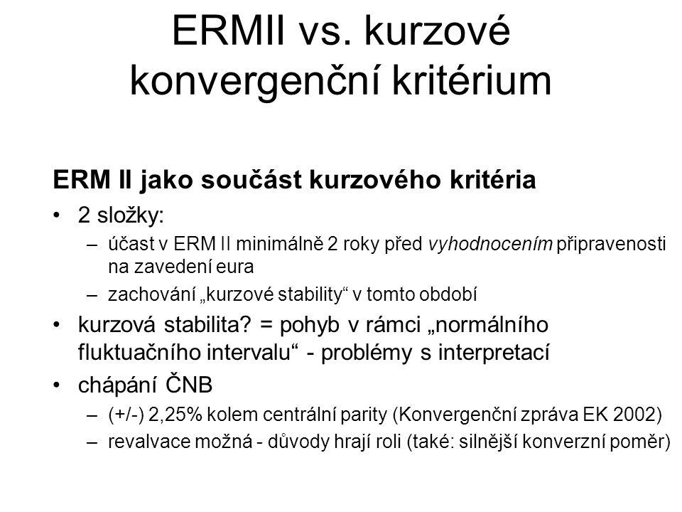 """ERM II jako součást kurzového kritéria 2 složky: –účast v ERM II minimálně 2 roky před vyhodnocením připravenosti na zavedení eura –zachování """"kurzové"""