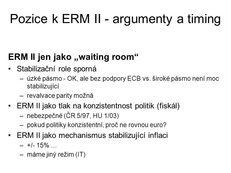 """Pozice k ERM II - argumenty a timing Timing ERM II chápán je jako brána k euru => jen na minimálně nutnou dobu (2 roky před vyhodnocením) => rozhodnutí o účasti v ERM II je klíčové v tom, že vymezuje okamžik vstupu do eurozóny (+2 roky) vstup do ERM II: """"po vytvoření předpokladů pro to, aby bylo ČR umožněno v době vyhodnocování kurzového kritéria (po dvou letech od vstupu do ERM II) přijmout měnu euro a poté bez problémů realizovat výhody z jejího přijetí"""