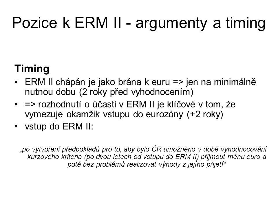 Pozice k ERM II - argumenty a timing Timing ERM II chápán je jako brána k euru => jen na minimálně nutnou dobu (2 roky před vyhodnocením) => rozhodnut