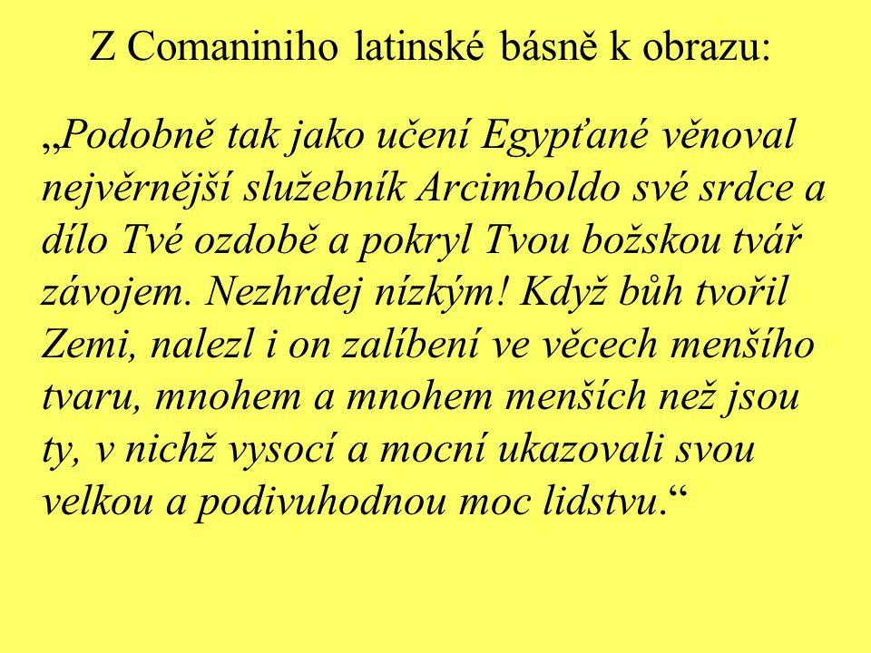 """Z Comaniniho latinské básně k obrazu: """"Podobně tak jako učení Egypťané věnoval nejvěrnější služebník Arcimboldo své srdce a dílo Tvé ozdobě a pokryl T"""
