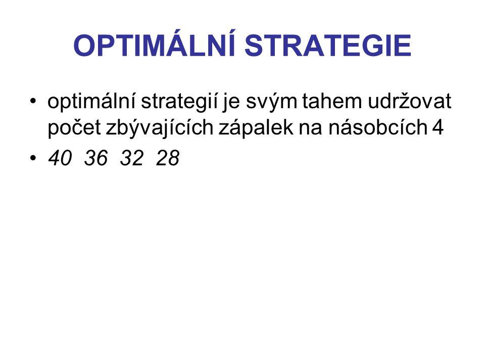 OPTIMÁLNÍ STRATEGIE optimální strategií je svým tahem udržovat počet zbývajících zápalek na násobcích 4 40 36 32 28