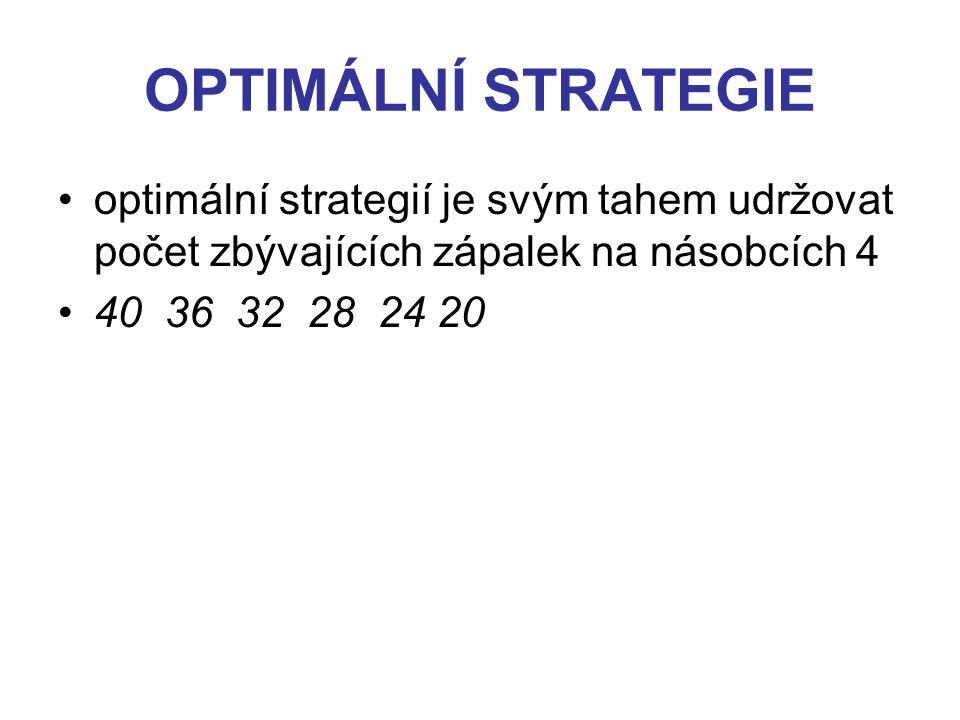 OPTIMÁLNÍ STRATEGIE optimální strategií je svým tahem udržovat počet zbývajících zápalek na násobcích 4 40 36 32 28 24 20