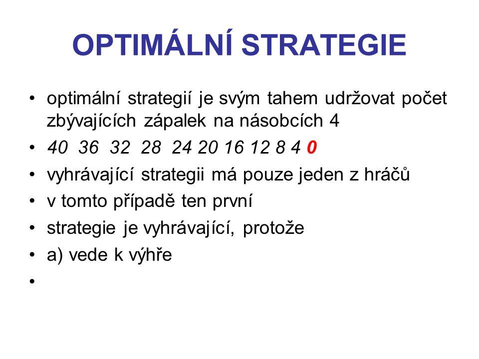 OPTIMÁLNÍ STRATEGIE optimální strategií je svým tahem udržovat počet zbývajících zápalek na násobcích 4 40 36 32 28 24 20 16 12 8 4 0 vyhrávající strategii má pouze jeden z hráčů v tomto případě ten první strategie je vyhrávající, protože a) vede k výhře