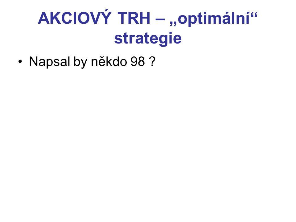 """AKCIOVÝ TRH – """"optimální strategie Napsal by někdo 98 ?"""
