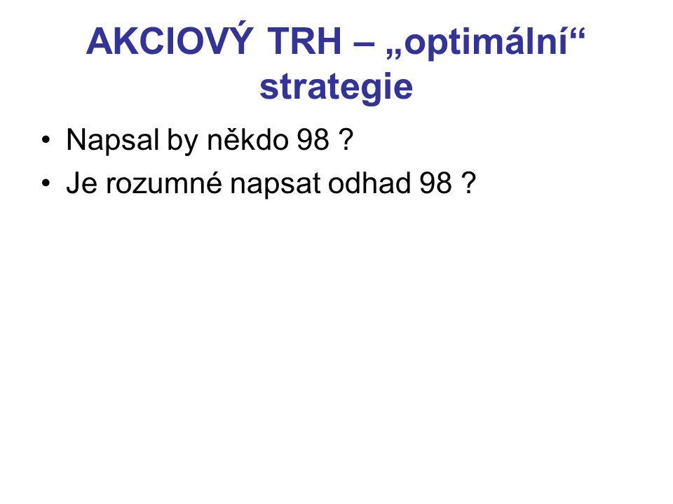"""AKCIOVÝ TRH – """"optimální strategie Napsal by někdo 98 ? Je rozumné napsat odhad 98 ?"""