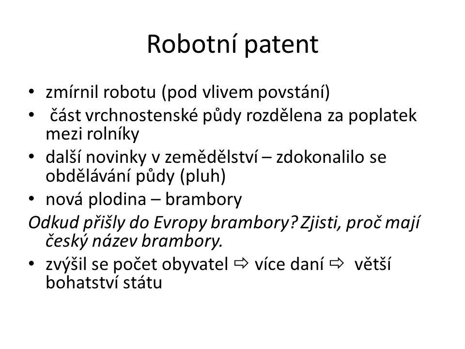 Robotní patent zmírnil robotu (pod vlivem povstání) část vrchnostenské půdy rozdělena za poplatek mezi rolníky další novinky v zemědělství – zdokonalilo se obdělávání půdy (pluh) nová plodina – brambory Odkud přišly do Evropy brambory.