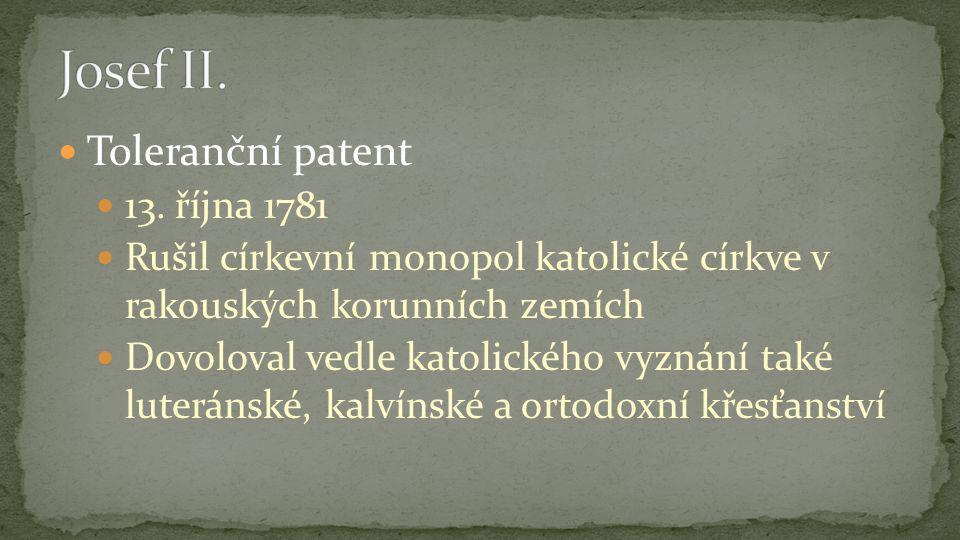 Toleranční patent 13.