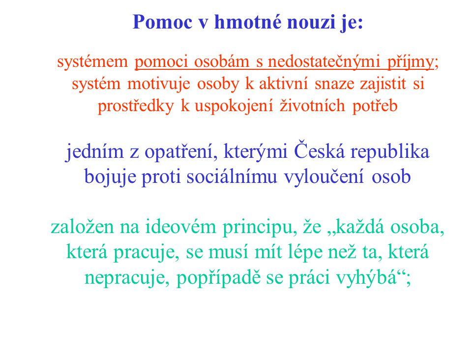 """Pomoc v hmotné nouzi je: systémem pomoci osobám s nedostatečnými příjmy; systém motivuje osoby k aktivní snaze zajistit si prostředky k uspokojení životních potřeb jedním z opatření, kterými Česká republika bojuje proti sociálnímu vyloučení osob založen na ideovém principu, že """"každá osoba, která pracuje, se musí mít lépe než ta, která nepracuje, popřípadě se práci vyhýbá ;"""