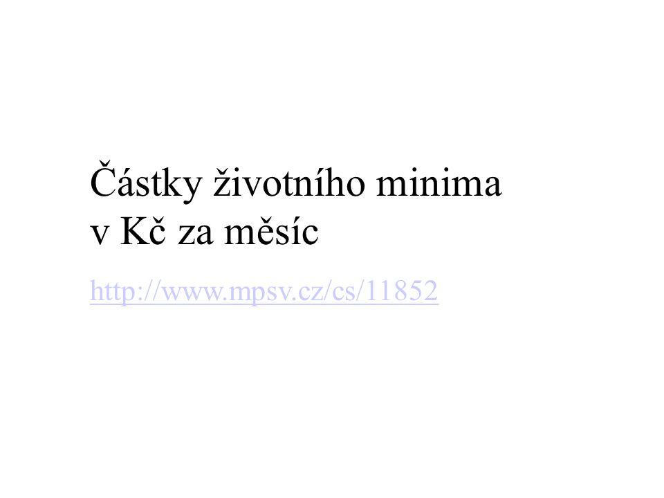 Částky životního minima v Kč za měsíc http://www.mpsv.cz/cs/11852