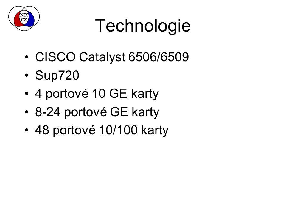 Technologie CISCO Catalyst 6506/6509 Sup720 4 portové 10 GE karty 8-24 portové GE karty 48 portové 10/100 karty