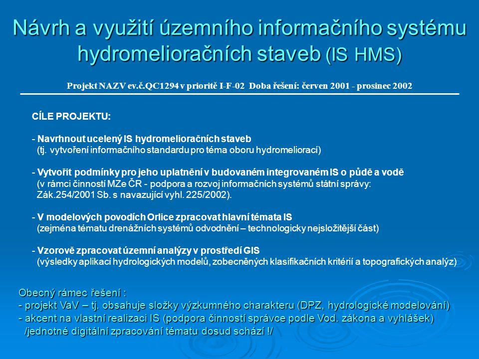 Návrh a využití územního informačního systému hydromelioračních staveb (IS HMS) Projekt NAZV ev.č.QC1294 v prioritě I-F-02 Doba řešení: červen 2001 - prosinec 2002 Obecný rámec řešení : - projekt VaV – tj.