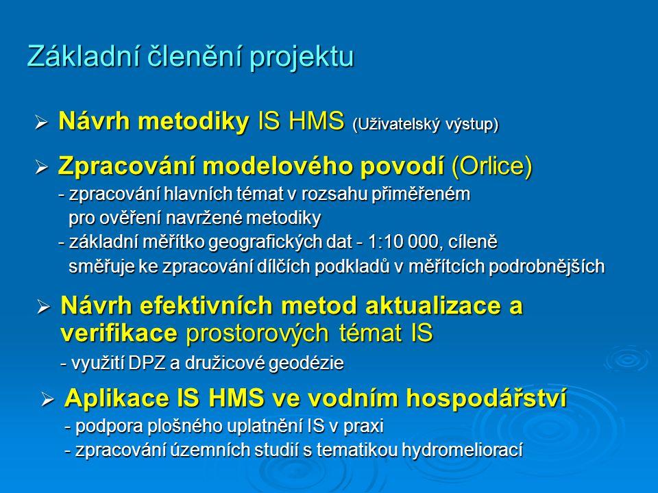Základní členění projektu  Návrh metodiky IS HMS (Uživatelský výstup)  Zpracování modelového povodí (Orlice) - zpracování hlavních témat v rozsahu přiměřeném pro ověření navržené metodiky pro ověření navržené metodiky - základní měřítko geografických dat - 1:10 000, cíleně směřuje ke zpracování dílčích podkladů v měřítcích podrobnějších směřuje ke zpracování dílčích podkladů v měřítcích podrobnějších  Návrh efektivních metod aktualizace a verifikace prostorových témat IS - využití DPZ a družicové geodézie - využití DPZ a družicové geodézie  Aplikace IS HMS ve vodním hospodářství - podpora plošného uplatnění IS v praxi - zpracování územních studií s tematikou hydromeliorací