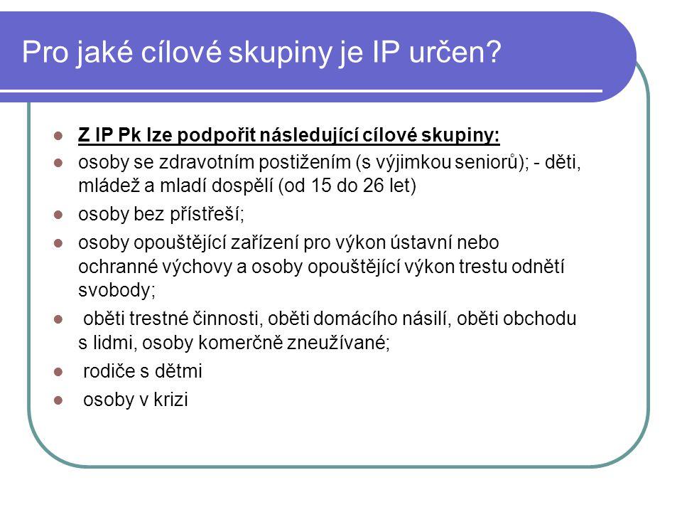 Pro jaké cílové skupiny je IP určen.