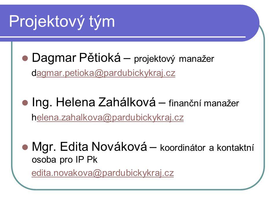 Projektový tým Dagmar Pětioká – projektový manažer dagmar.petioka@pardubickykraj.czagmar.petioka@pardubickykraj.cz Ing.