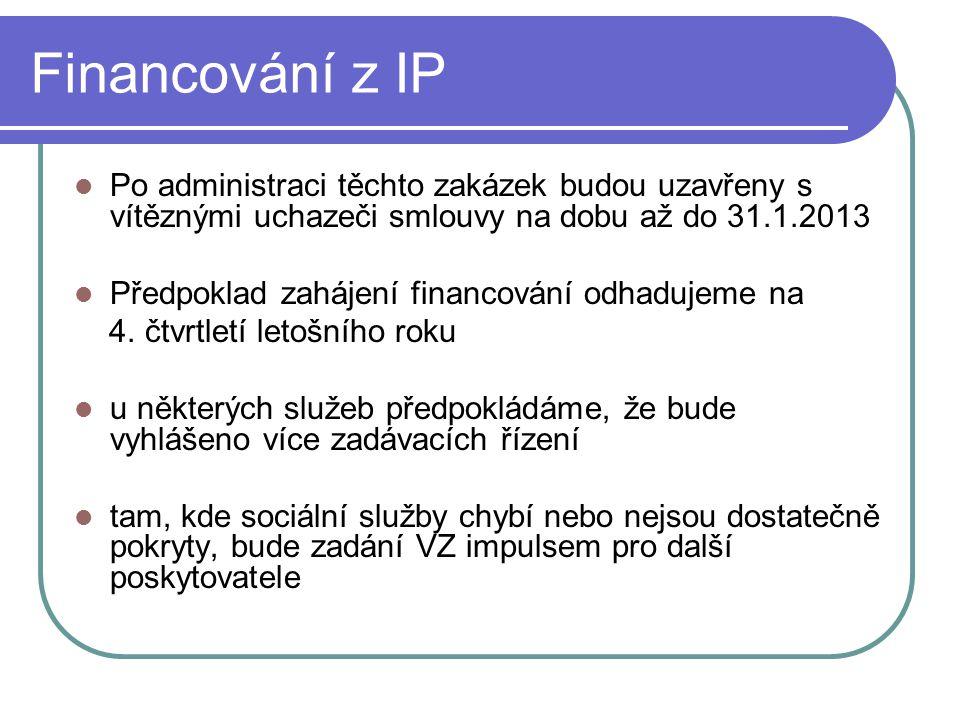Financování z IP Po administraci těchto zakázek budou uzavřeny s vítěznými uchazeči smlouvy na dobu až do 31.1.2013 Předpoklad zahájení financování odhadujeme na 4.