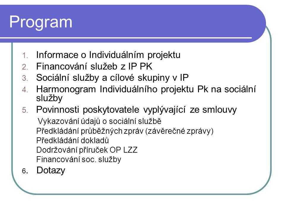 Program 1. Informace o Individuálním projektu 2. Financování služeb z IP PK 3.