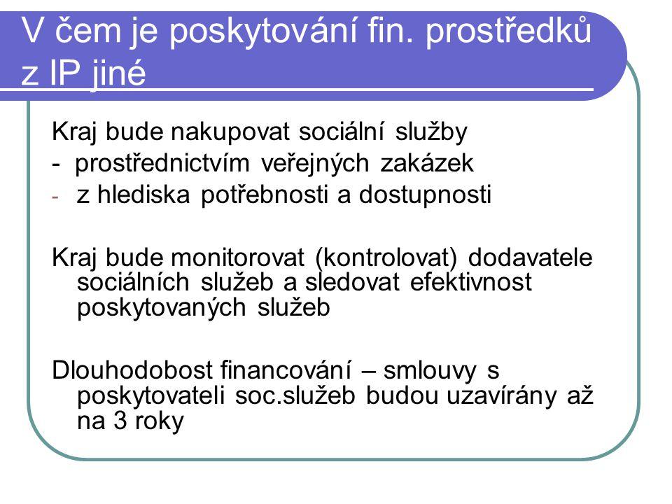 Rozdíl proti ostatnímu financování soc.služeb Nákup soc.služeb prostřednictvím veřejných zakázek Větší náročnost na administraci pro poskytovatele soc.služeb - archivace veškerých dokladů vztahujících se k IP – 10 let - kontrolu mohou v průběhu 10 let provádět pracovníci kraje, MPSV, orgánů EU - zajištění publicity IP – bude se týkat i dodavatelů soc.