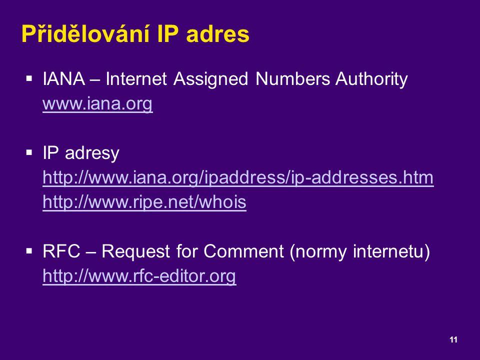 Přidělování IP adres  IANA – Internet Assigned Numbers Authority www.iana.org www.iana.org  IP adresy http://www.iana.org/ipaddress/ip-addresses.htm