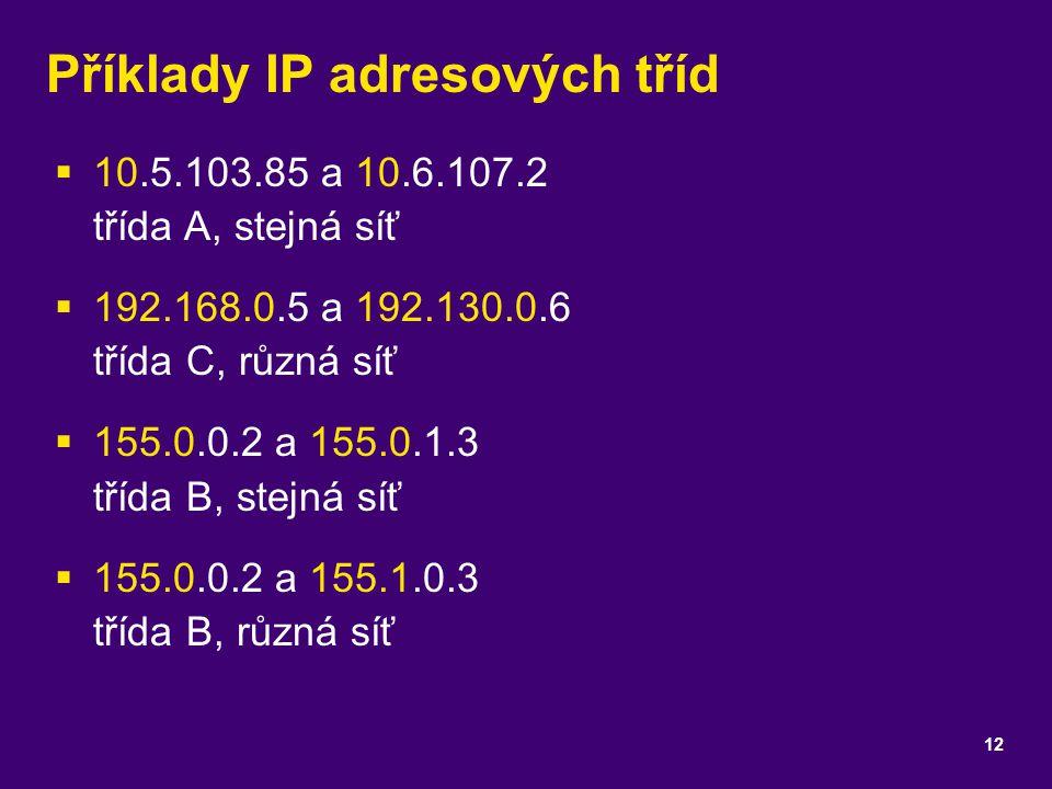 Příklady IP adresových tříd  10.5.103.85 a 10.6.107.2 třída A, stejná síť  192.168.0.5 a 192.130.0.6 třída C, různá síť  155.0.0.2 a 155.0.1.3 tříd