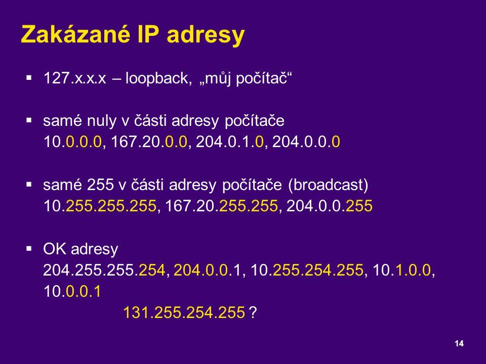 """Zakázané IP adresy  127.x.x.x – loopback, """"můj počítač""""  samé nuly v části adresy počítače 10.0.0.0, 167.20.0.0, 204.0.1.0, 204.0.0.0  samé 255 v č"""