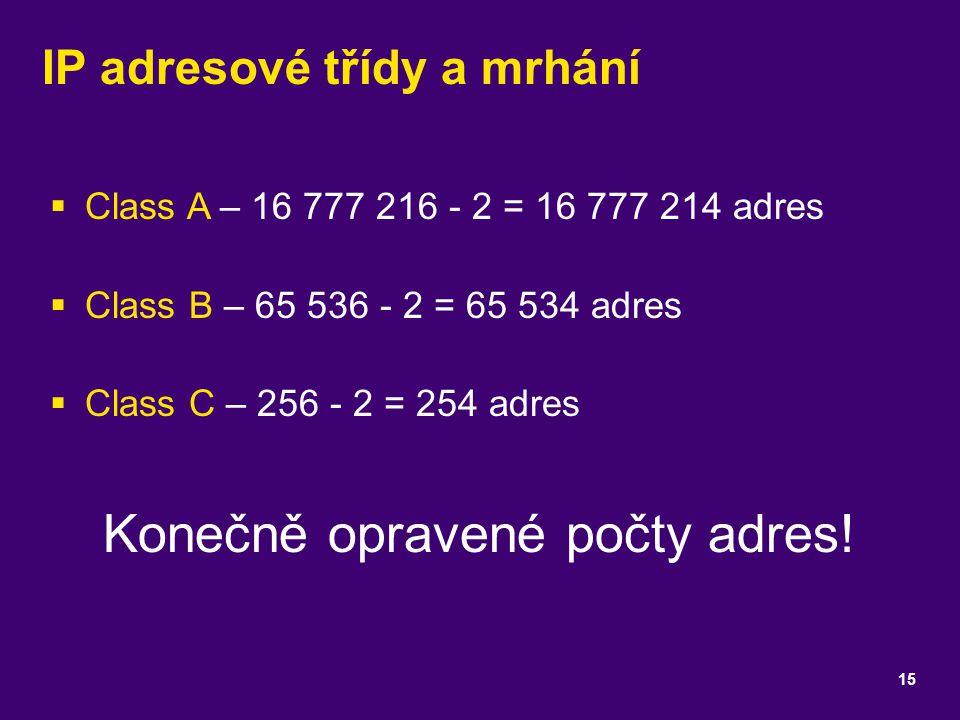 IP adresové třídy a mrhání  Class A – 16 777 216 - 2 = 16 777 214 adres  Class B – 65 536 - 2 = 65 534 adres  Class C – 256 - 2 = 254 adres Konečně