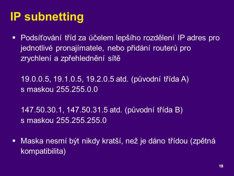 IP subnetting  Podsíťování tříd za účelem lepšího rozdělení IP adres pro jednotlivé pronajímatele, nebo přidání routerů pro zrychlení a zpřehlednění