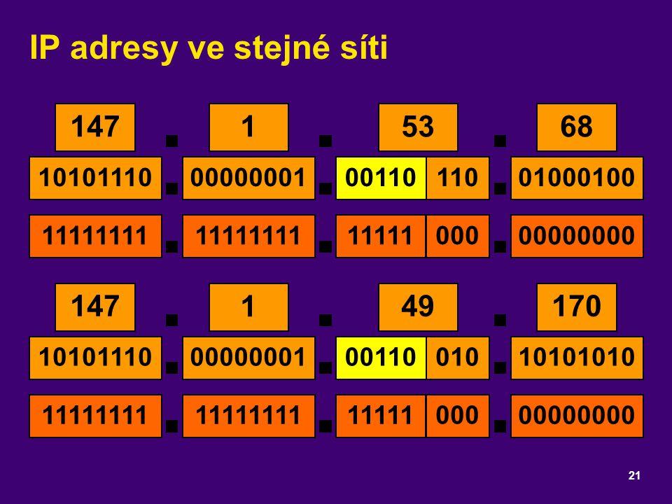 IP adresy ve stejné síti 21 14753168 10101110001100000000101000100 11111111111111111111100000000 000 110 14749 1 170 10101110001100000000110101010 111