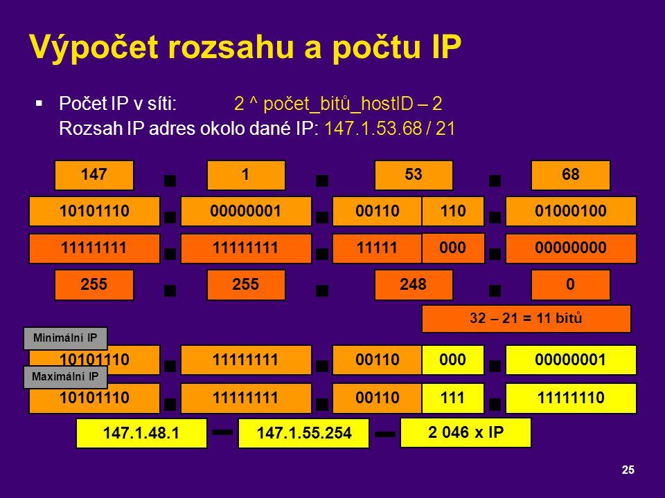 Výpočet rozsahu a počtu IP  Počet IP v síti:2 ^ počet_bitů_hostID – 2 Rozsah IP adres okolo dané IP: 147.1.53.68 / 21 25 14768 1010111001000100 11111