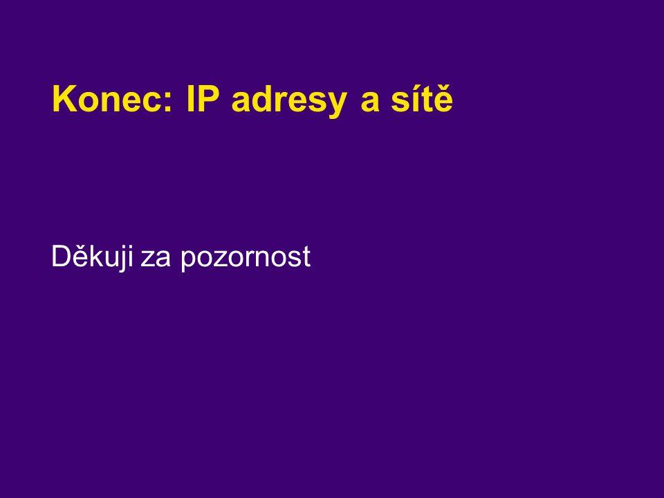 Konec: IP adresy a sítě Děkuji za pozornost