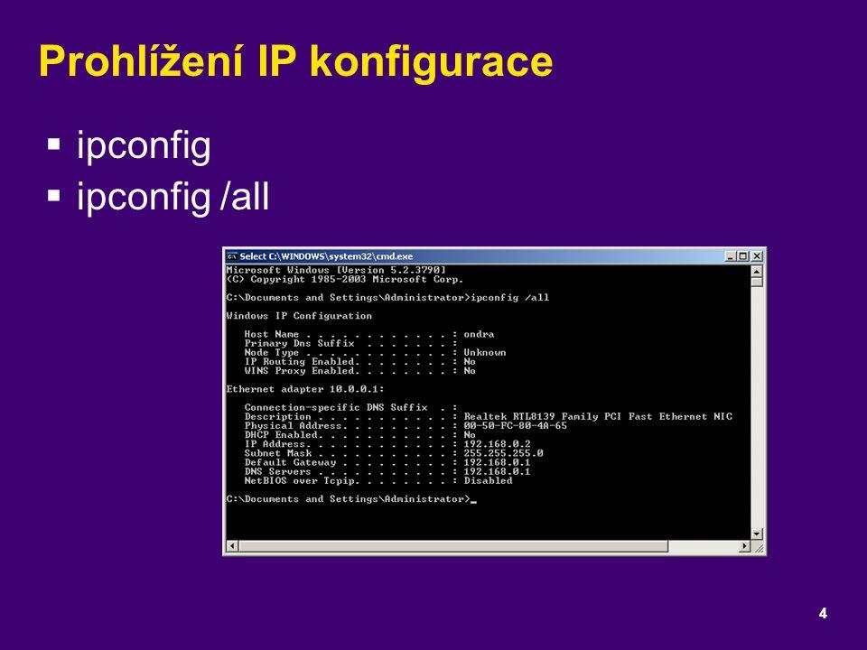Prohlížení IP konfigurace  ipconfig  ipconfig /all 4