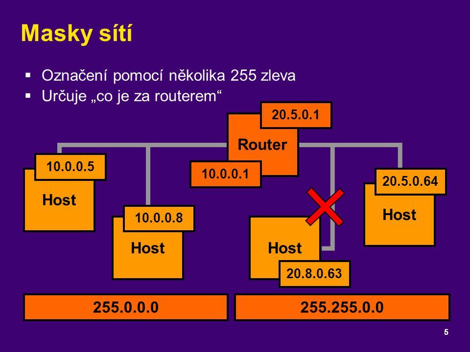 """Masky sítí  Označení pomocí několika 255 zleva  Určuje """"co je za routerem"""" 5 Host Router Host 10.0.0.8 10.0.0.5 10.0.0.1 20.5.0.1 20.5.0.64 Host 20."""