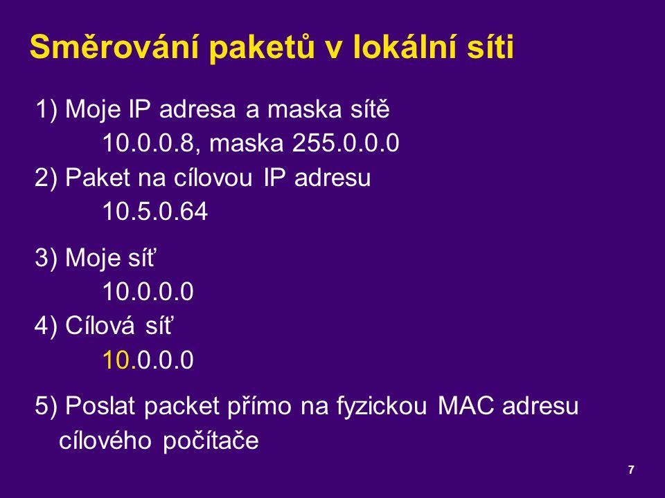 Směrování paketů v lokální síti 1) Moje IP adresa a maska sítě 10.0.0.8, maska 255.0.0.0 2) Paket na cílovou IP adresu 10.5.0.64 3) Moje síť 10.0.0.0