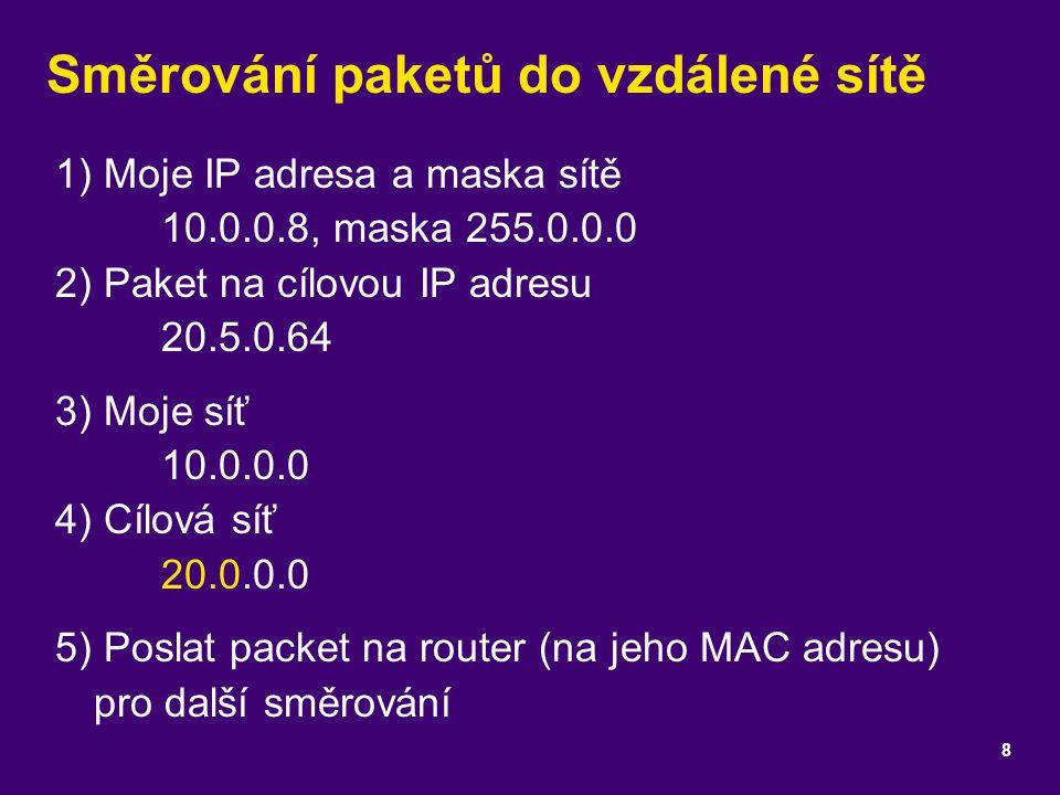 Směrování paketů do vzdálené sítě 1) Moje IP adresa a maska sítě 10.0.0.8, maska 255.0.0.0 2) Paket na cílovou IP adresu 20.5.0.64 3) Moje síť 10.0.0.