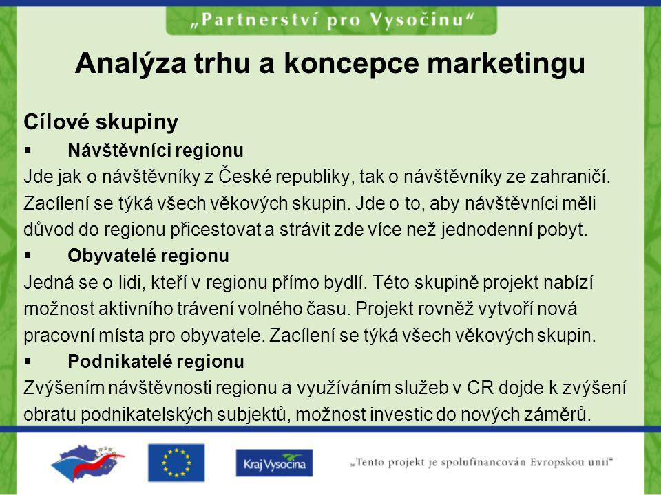 Analýza trhu a koncepce marketingu Cílové skupiny  Návštěvníci regionu Jde jak o návštěvníky z České republiky, tak o návštěvníky ze zahraničí. Zacíl