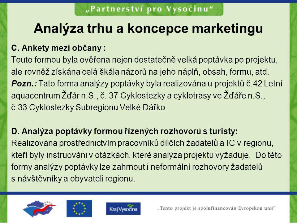 Analýza trhu a koncepce marketingu C. Ankety mezi občany : Touto formou byla ověřena nejen dostatečně velká poptávka po projektu, ale rovněž získána c