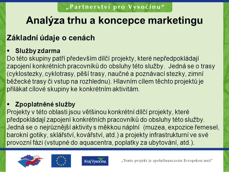 Analýza trhu a koncepce marketingu Základní údaje o cenách  Služby zdarma Do této skupiny patří především dílčí projekty, které nepředpokládají zapoj