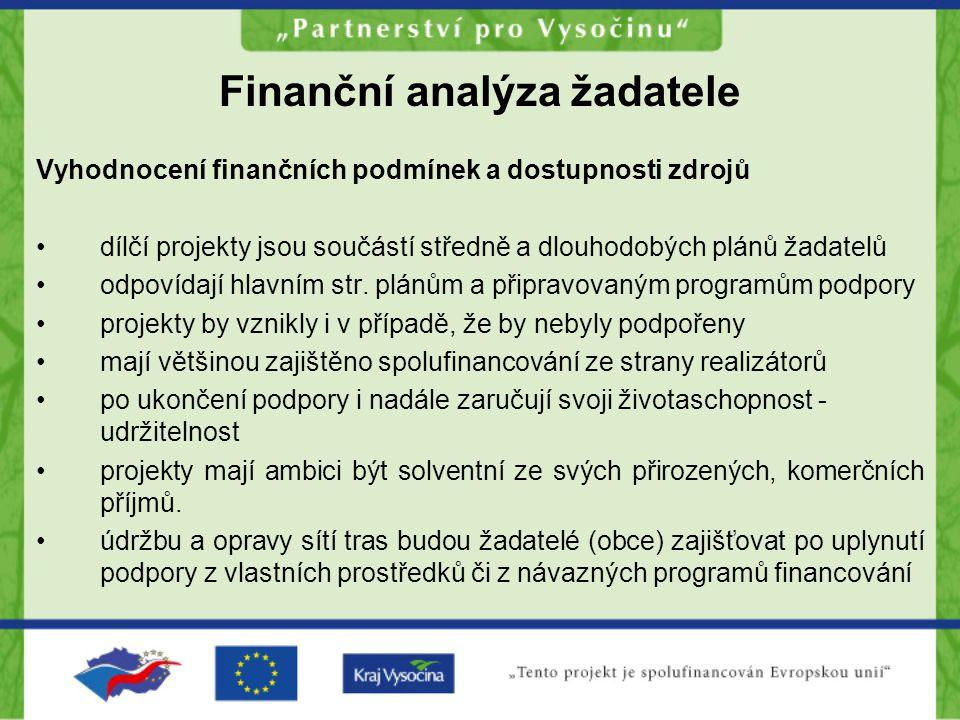 Finanční analýza žadatele Vyhodnocení finančních podmínek a dostupnosti zdrojů dílčí projekty jsou součástí středně a dlouhodobých plánů žadatelů odpo