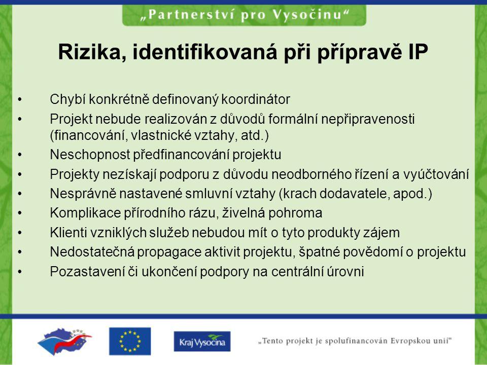 Rizika, identifikovaná při přípravě IP Chybí konkrétně definovaný koordinátor Projekt nebude realizován z důvodů formální nepřipravenosti (financování