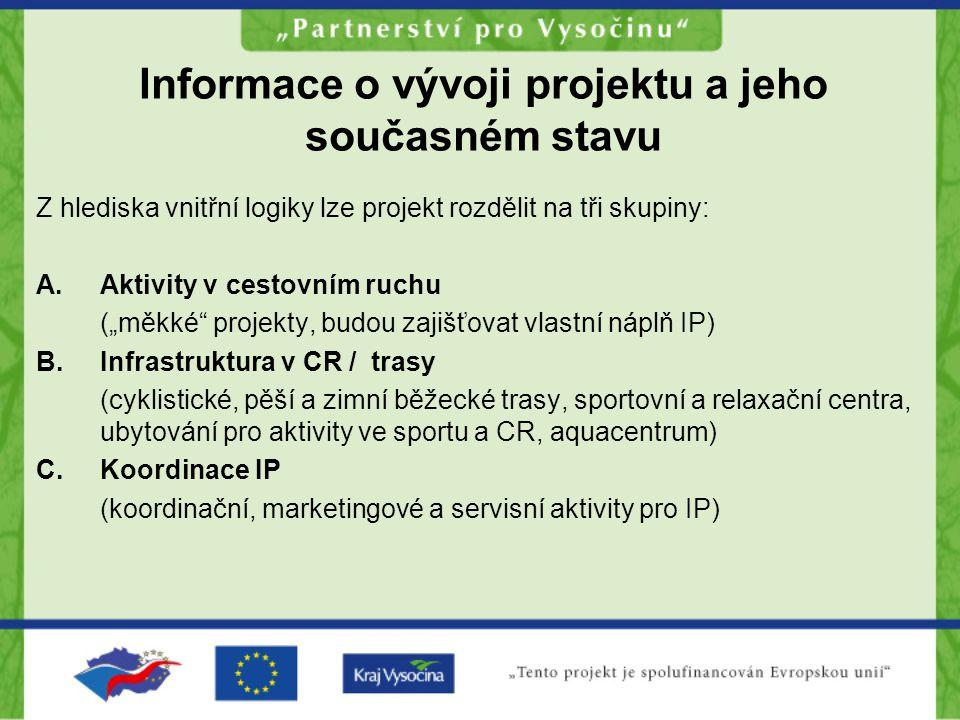 """Informace o vývoji projektu a jeho současném stavu Z hlediska vnitřní logiky lze projekt rozdělit na tři skupiny: A.Aktivity v cestovním ruchu (""""měkké"""