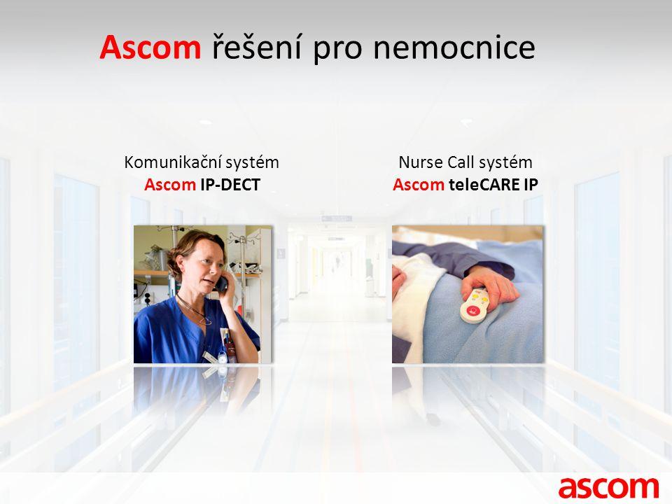 Ascom řešení pro nemocnice Komunikační systém Ascom IP-DECT Nurse Call systém Ascom teleCARE IP