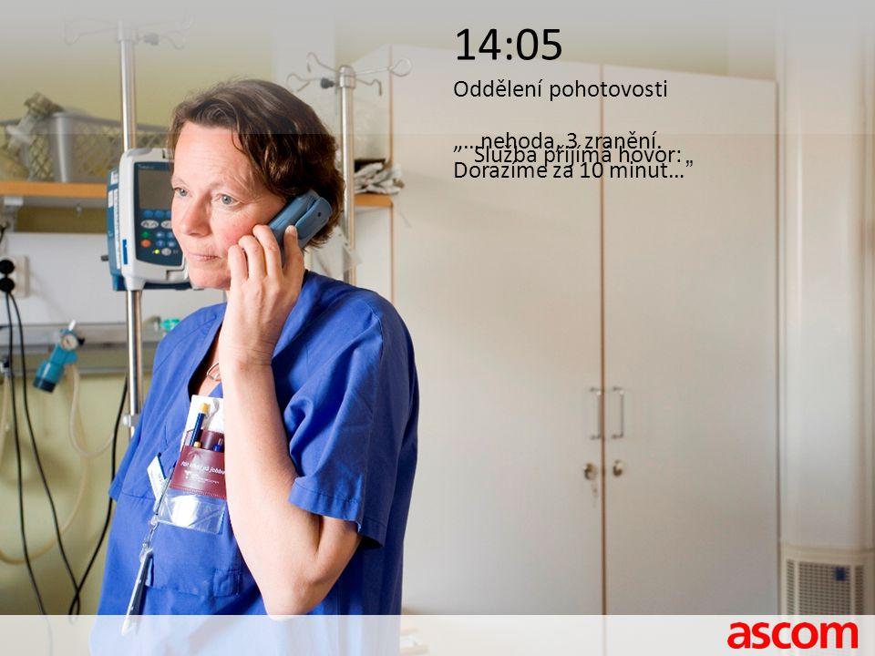 """14:05 Oddělení pohotovosti Služba přijímá hovor: """"…nehoda, 3 zranění. Dorazíme za 10 minut…"""""""