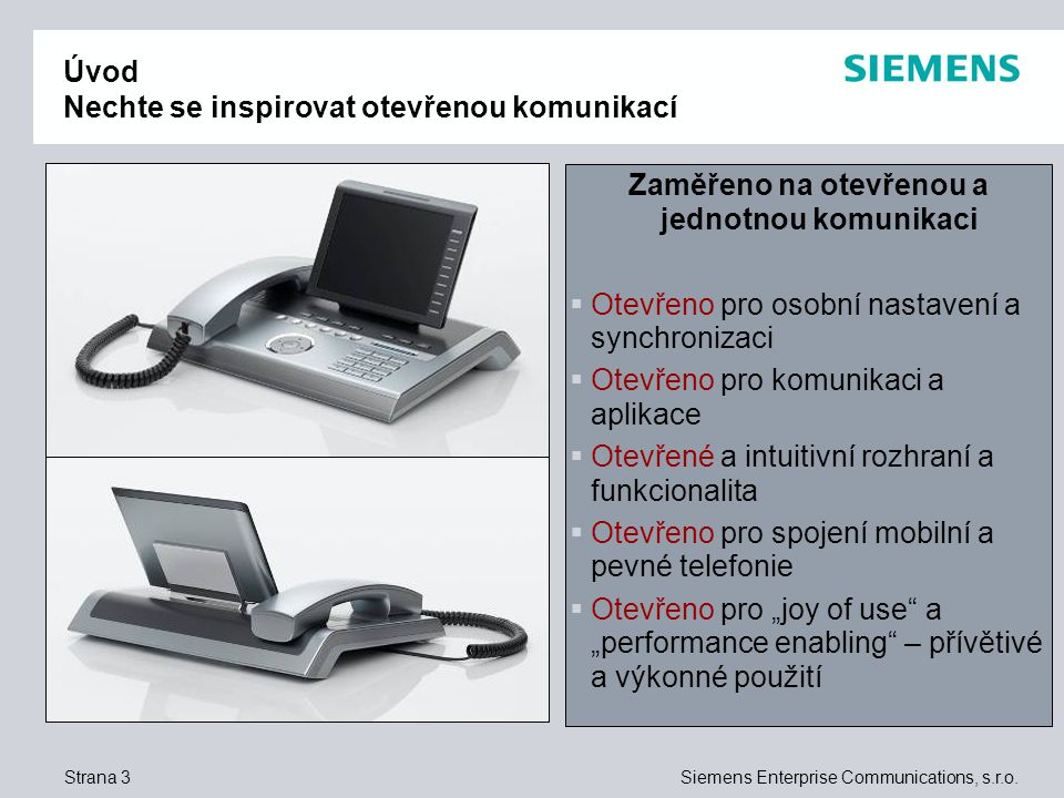 Strana 3Siemens Enterprise Communications, s.r.o.